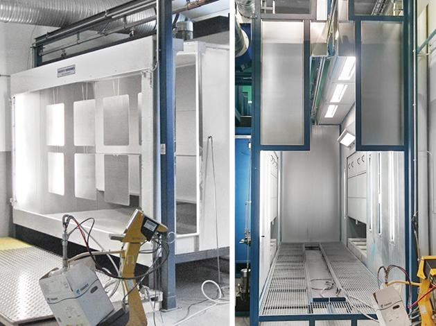 Cartridge filter cabins for manual powder spraying