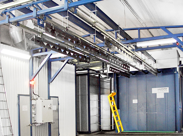 Manual overhead conveyor systems for painting plant use